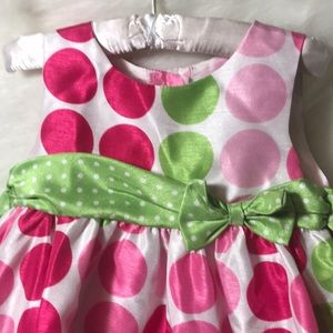 Rare Editions Dresses - Toddler Pink & Green Polka Dot Dress